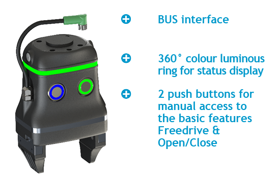 The special features of the Dahl Adaptive Gripper DAG-M: BUS interface, 360° colour luminous ring for status display, 2 push buttons for manual access to the basic features Freedrive & Open/Close